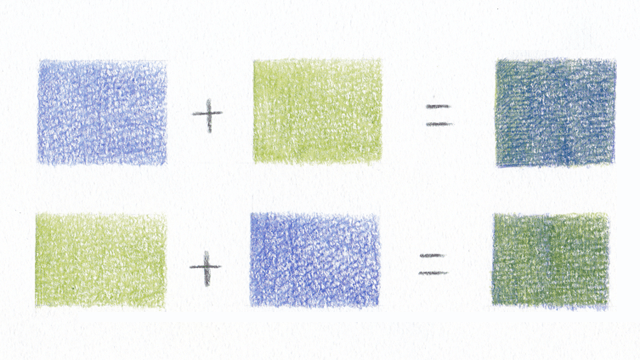 色鉛筆の色を混ぜる