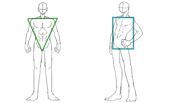 三角と四角で表す男性の体