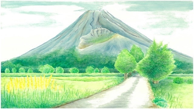 水彩画の風景イラスト