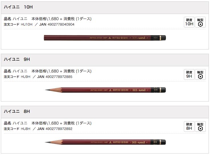 ハイユニ鉛筆