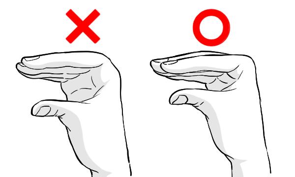 手 指の曲がる位置
