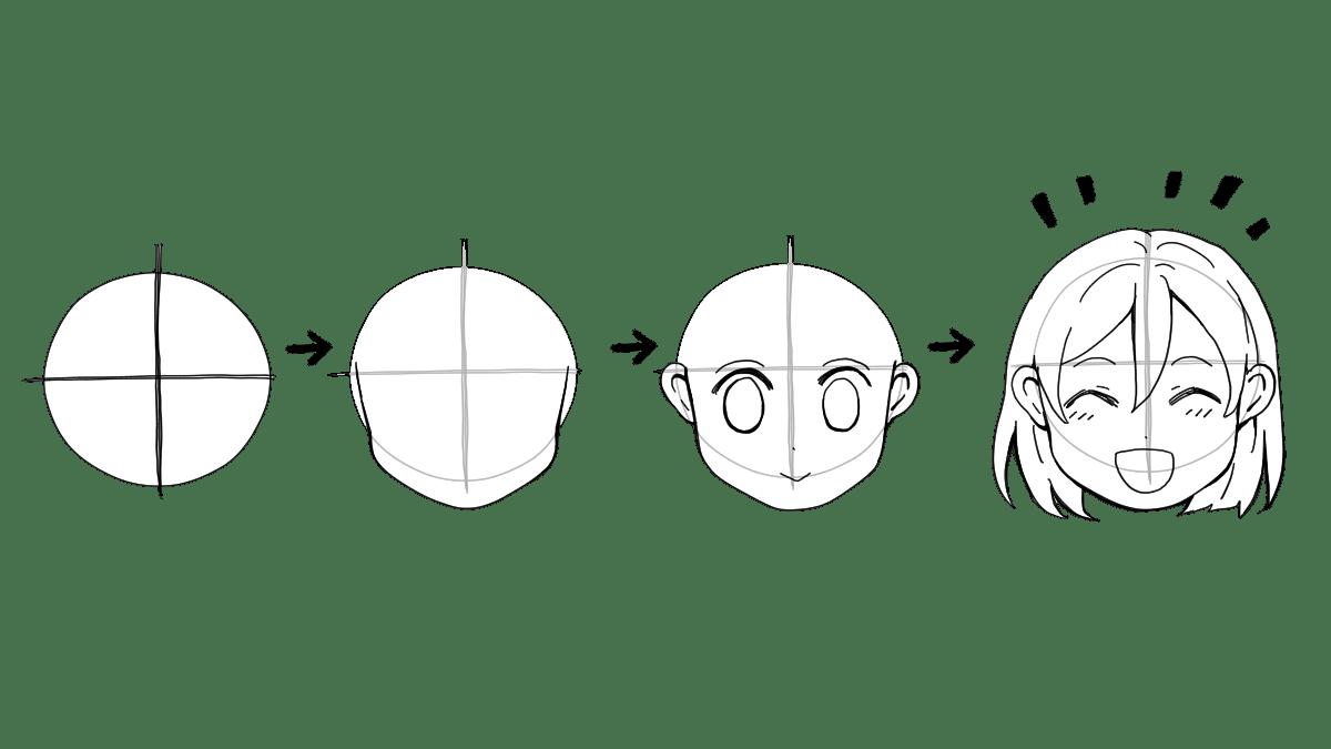 女の子の顔のアタリの取り方 正面