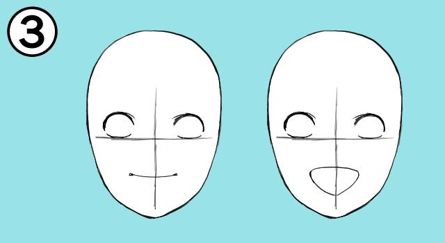 感情を表現する口を描く