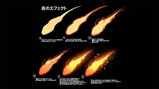 炎・雷・水・斬撃エフェクトの描き方。「陰影と発光」レイヤーやぼかしツールを活用