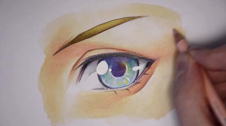 コピックの色ムラを色鉛筆で補足するように細かく塗っていき、完成です。