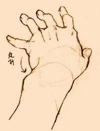 手の描き方のポイント_奥へ伸ばしている手
