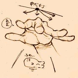 手の描き方のポイント_手前に向けて開いている手