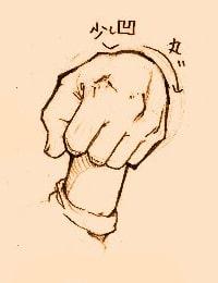 手の描き方のポイント_手前に向けて握っている手