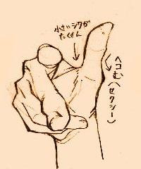 手の描き方のポイント_手前に指を向けている手