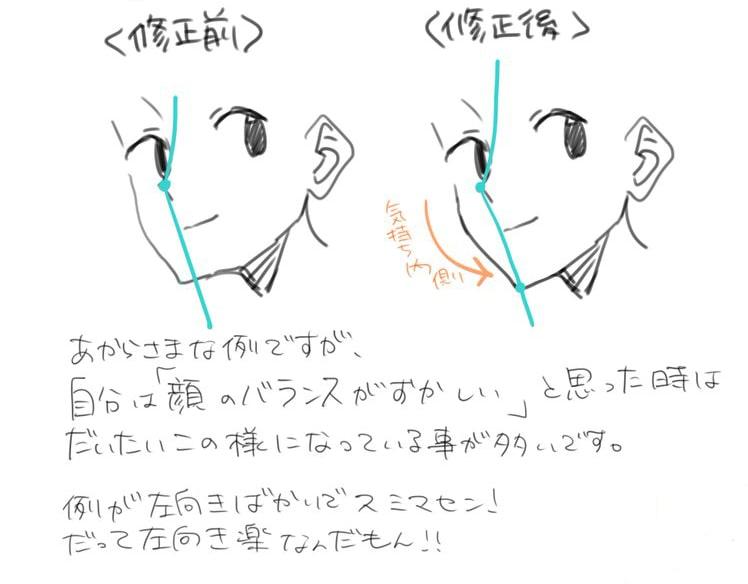 斜めの角度でも安心パーツから描くバランスの良い顔の描き方お