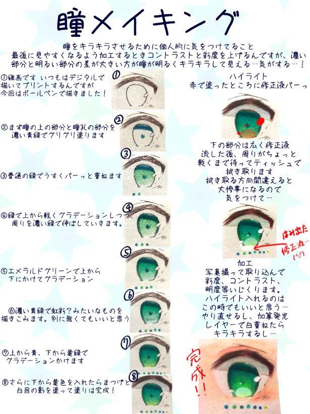 透明感のある瞳の塗り方メイキング_手順0