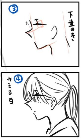 キャラクターの横顔イラスト!メイキング_手順3,4