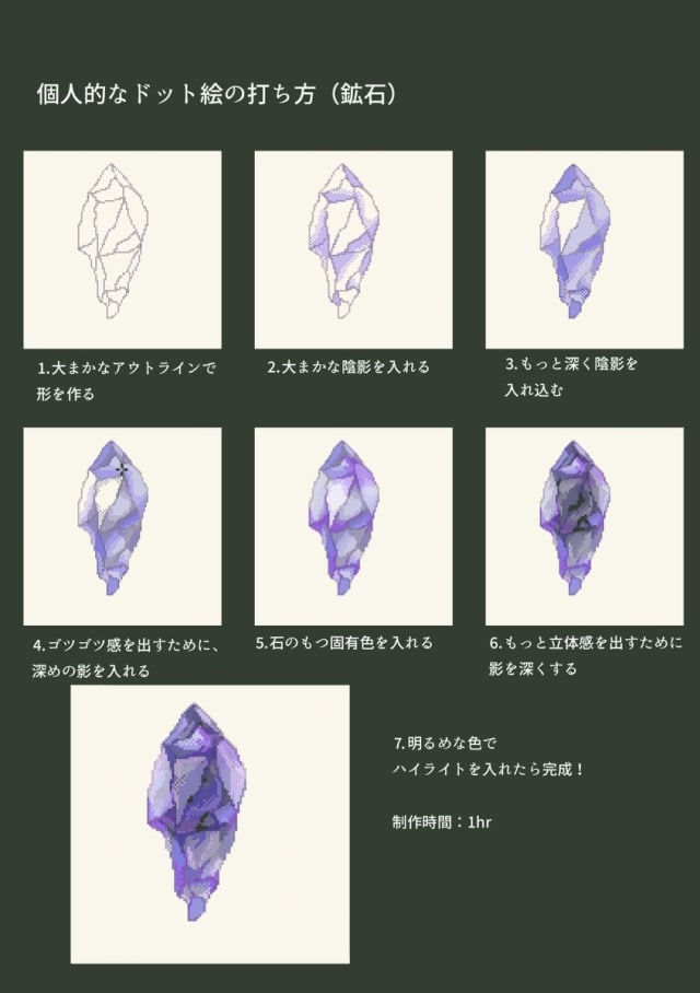 ドット絵で作る鉱石の描き方メイキング_手順0