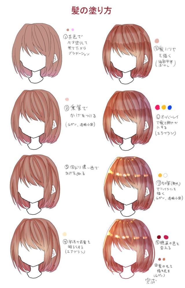 クリスタを使った髪の塗り方メイキング_手順0