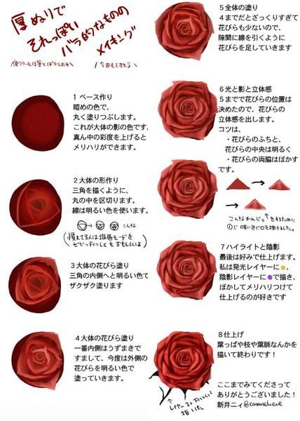 薔薇の描き方メイキング