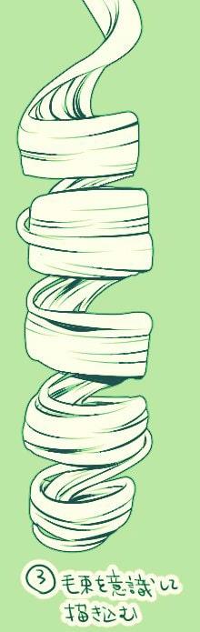 縦ロールの線画イラストを描く方法3
