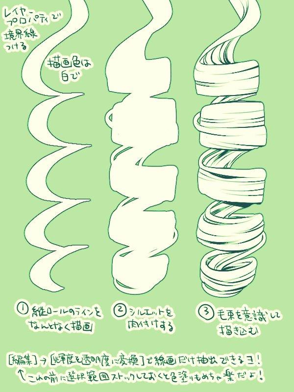 縦ロールの線画イラストを描く方法