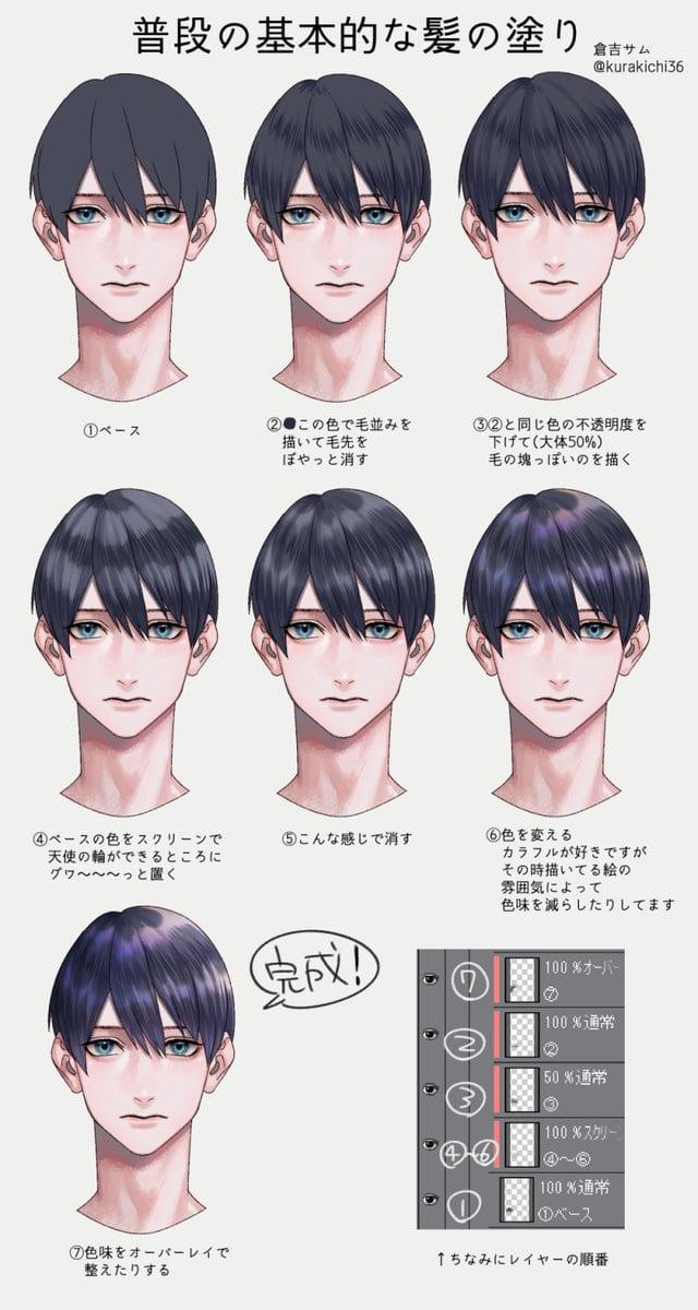 イケメンの髪の塗り方0