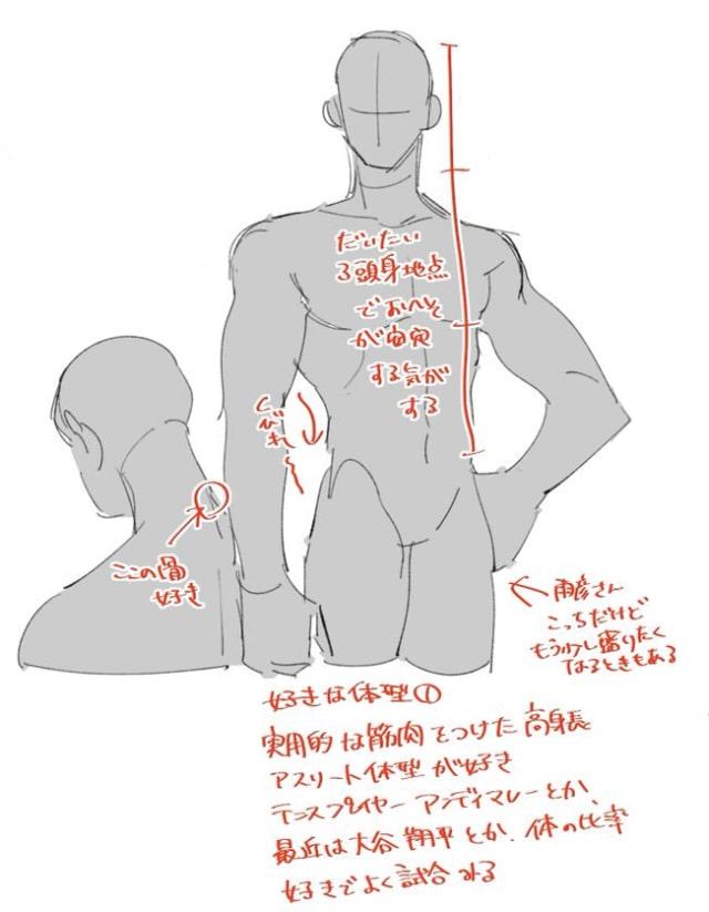マッチョの首と体の描き方2