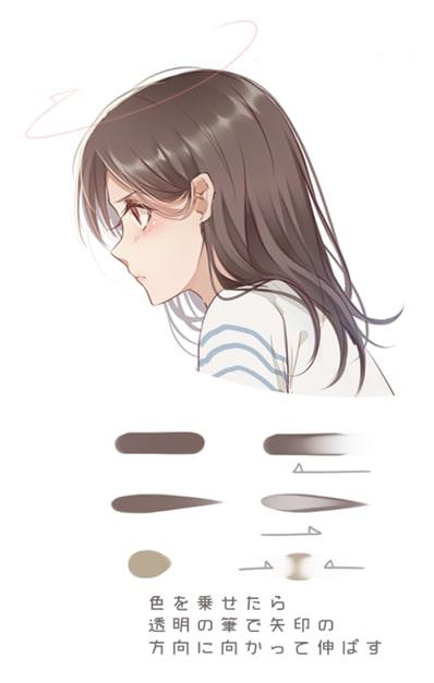髪の毛の塗り方ハイライトと影を種類別に解説お絵かき図鑑
