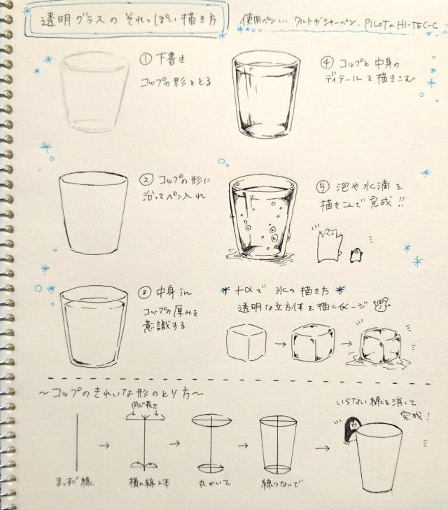 ガラスのコップ氷の描き方アナログで透明感のあるイラストをお