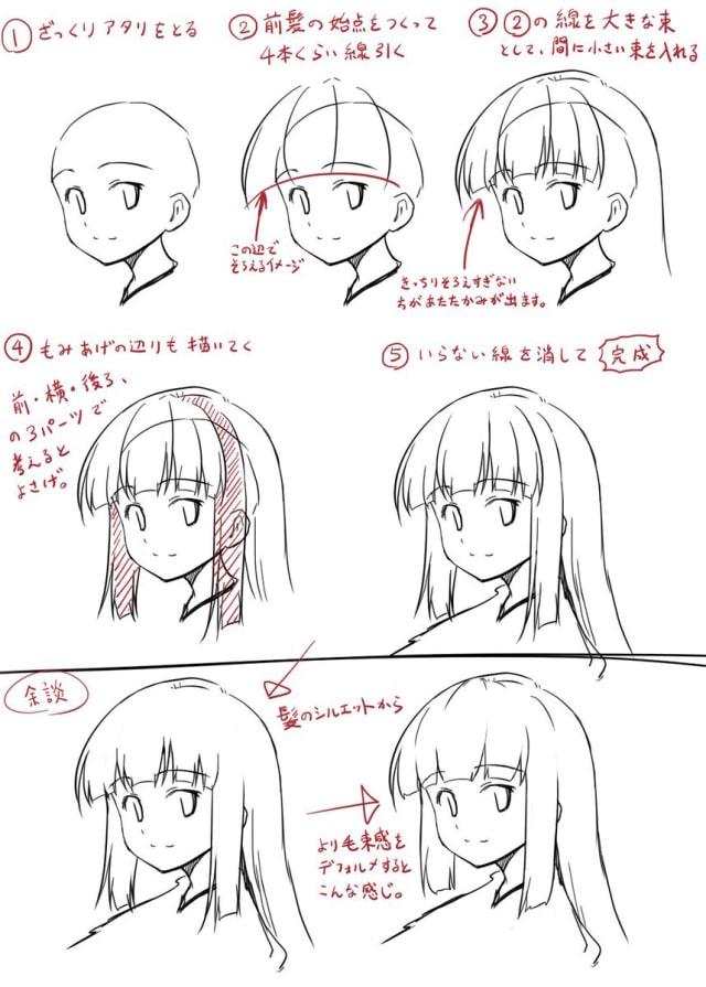 前髪ぱっつんの描き方0