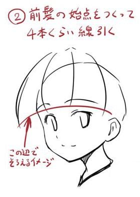 前髪ぱっつんの描き方2