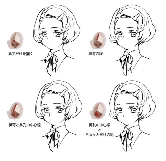 いろいろな鼻の描き方4