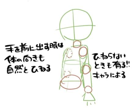 手を前に出す絵の描き方2
