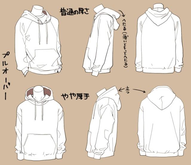 パーカー・ブラウス・Tシャツの描き方1