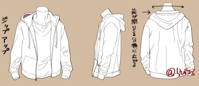パーカー・ブラウス・Tシャツの描き方2