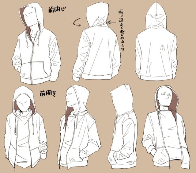 パーカー・ブラウス・Tシャツの描き方3