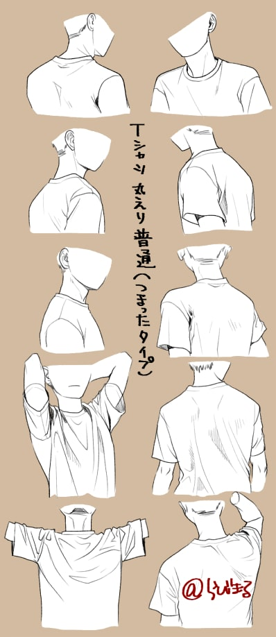パーカー・ブラウス・Tシャツの描き方7