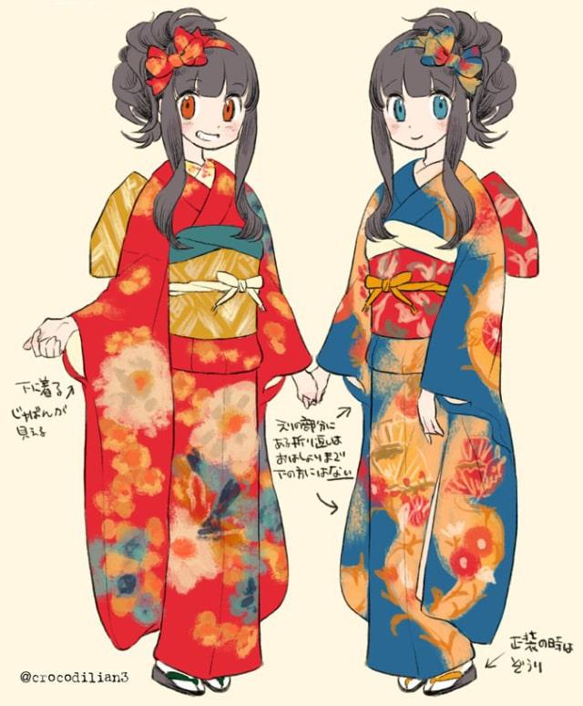 着物 振袖 羽織 の描き方 お正月や年賀状のイラストにおすすめ お絵かき図鑑