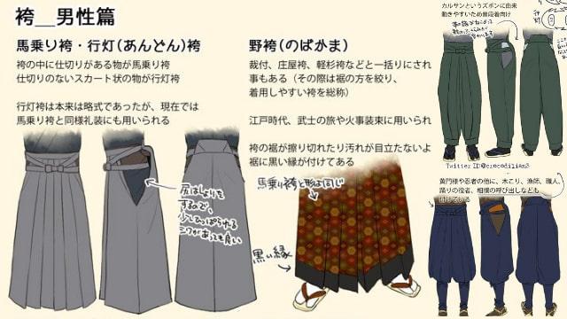 袴の描き方をイラスト解説!江戸時代・武士・忍者のキャラクターにおすすめ!