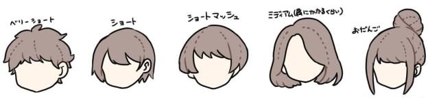 髪型の描き方をイラスト解説!ショート、ミディアム、ロング