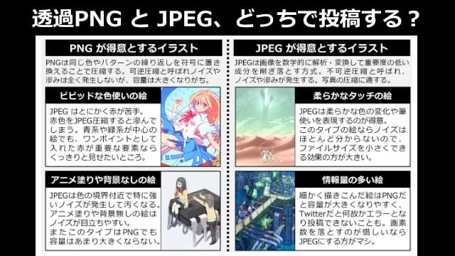 透過PNGとJPEGのイラストの向き不向き!投稿はどちらのファイル形式で作成するべきか。
