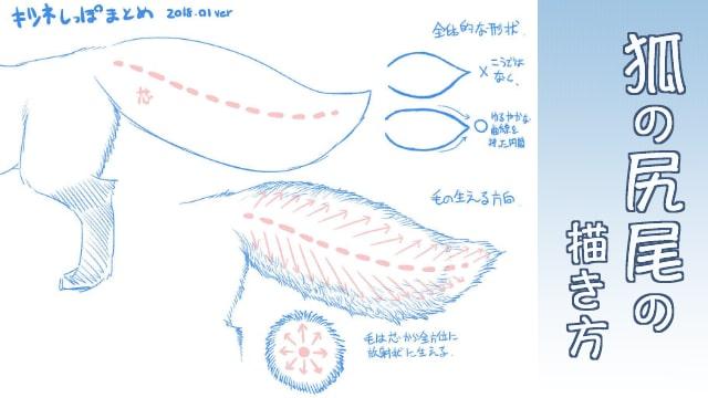 狐の尻尾の描き方をイラスト解説!毛の表現がポイント!