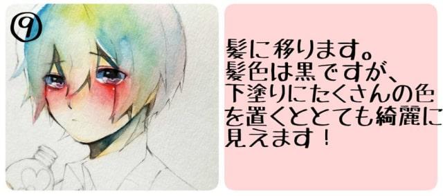 アナログ水彩キャラクターメイキング9