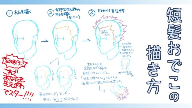 短髪ショートヘアおでこの描き方男キャラのイラストでは生え際を