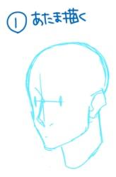短髪おでこの描き方1