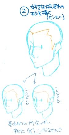 短髪おでこの描き方2