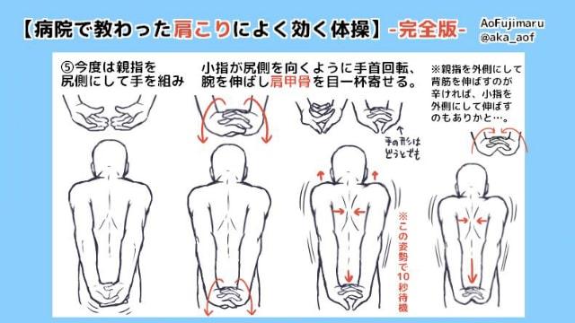 肩こりによく効く体操を漫画イラストで覚えよう!腕や肩甲骨を動かすデスクワーク向けのストレッチ方法。