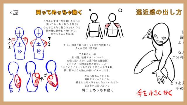 肩腕の描き方遠近感の出し方をイラスト解説体のパーツの描き方が