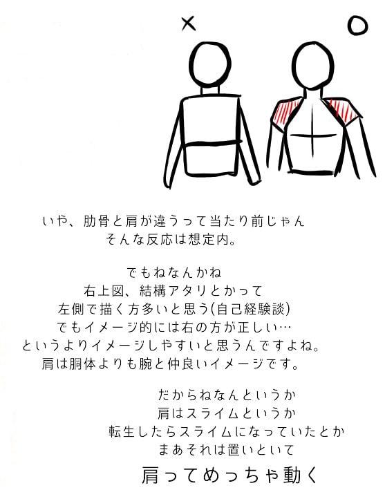 肩と腕の描き方、遠近感の出し方2