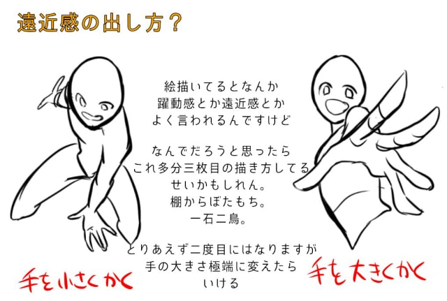 肩と腕の描き方、遠近感の出し方6