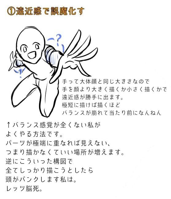 肩と腕の描き方、遠近感の出し方8