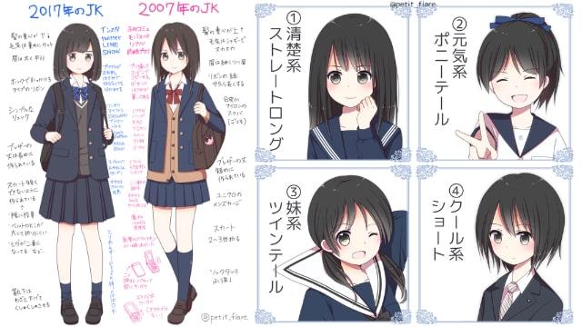 女子高生jkの描き方をイラストでご紹介ブレザーなどの制服時代ごと