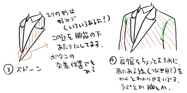 春のスーツの描き方2