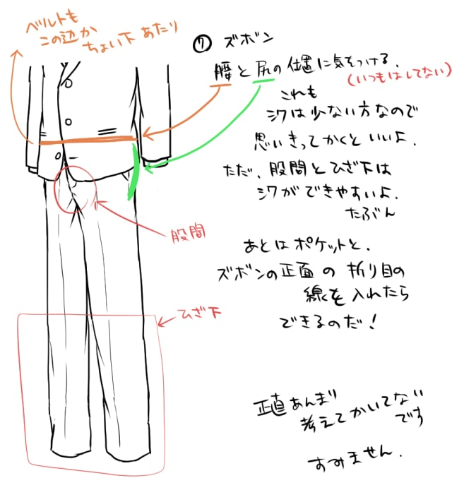 春のスーツの描き方6